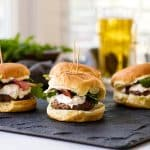 Bacon & Goat Cheese Sliders on a slate board