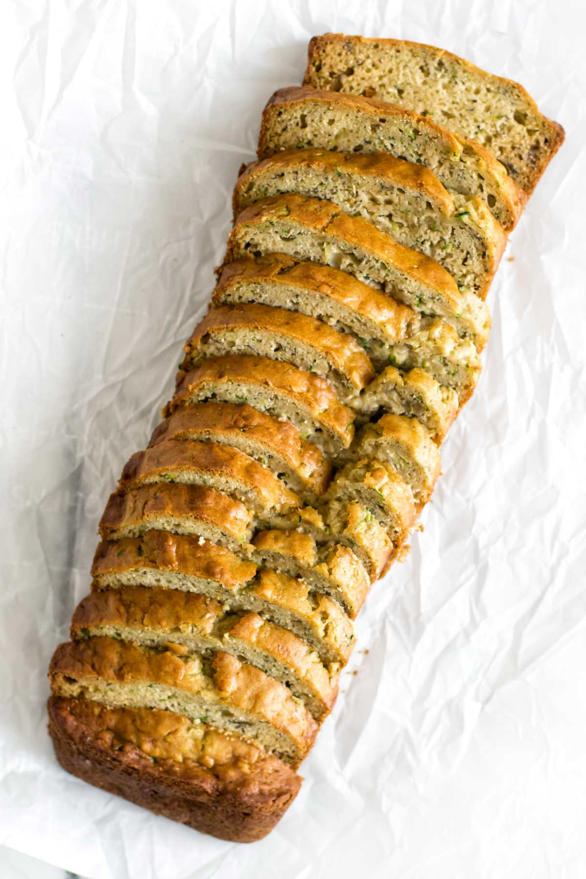 overhead photo of slices of banana zucchini bread