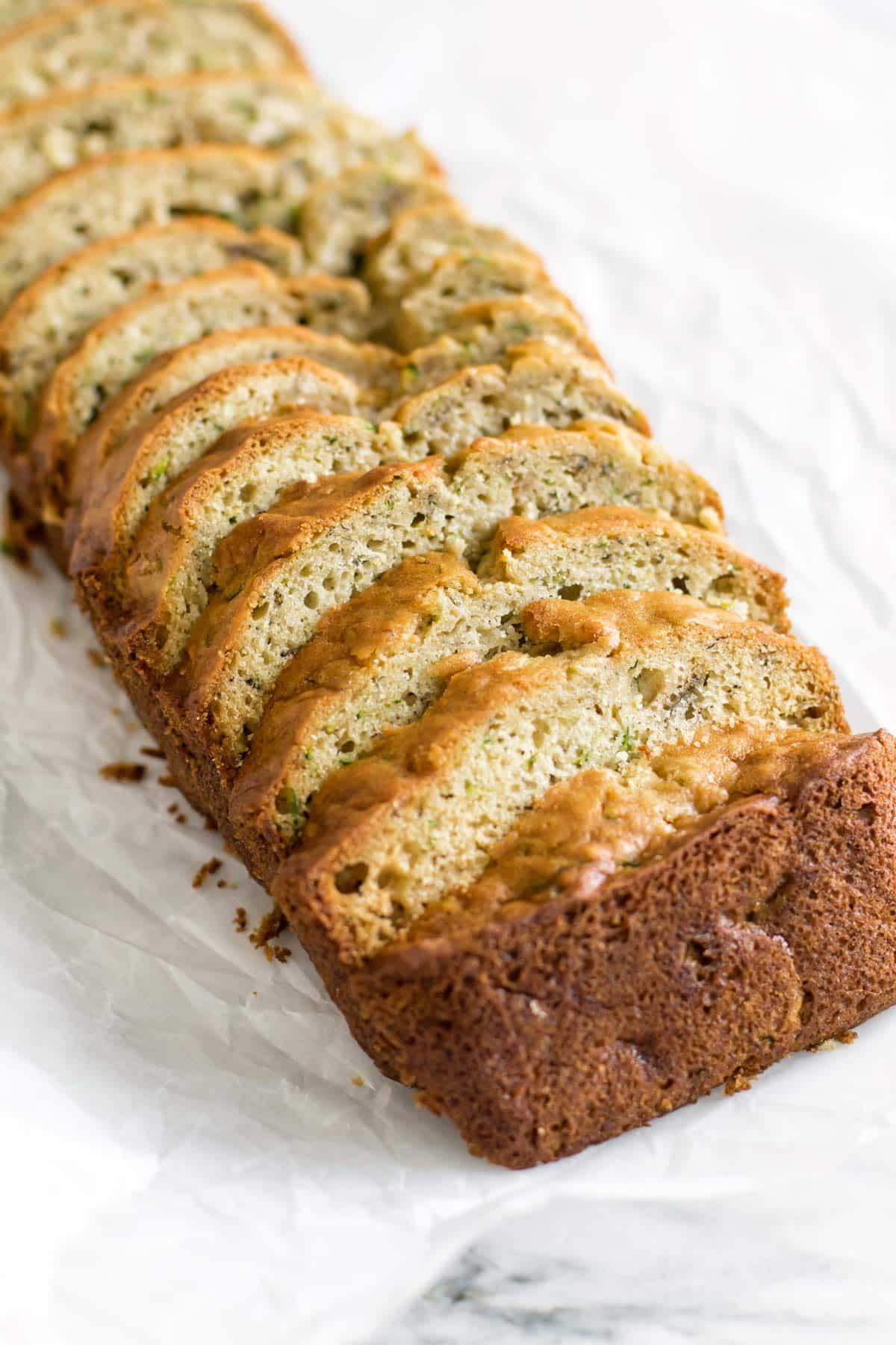 close-up photo of sliced zucchini bread