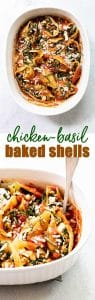 Chicken-Basil Baked Shells