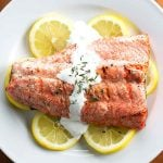 Grilled Salmon with Thyme Cream Sauce | girlgonegourmet.com