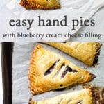 Blueberry hand pies photo collage
