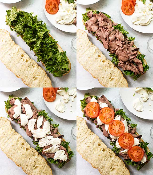 Caprese roast beef sandwiches set by step process