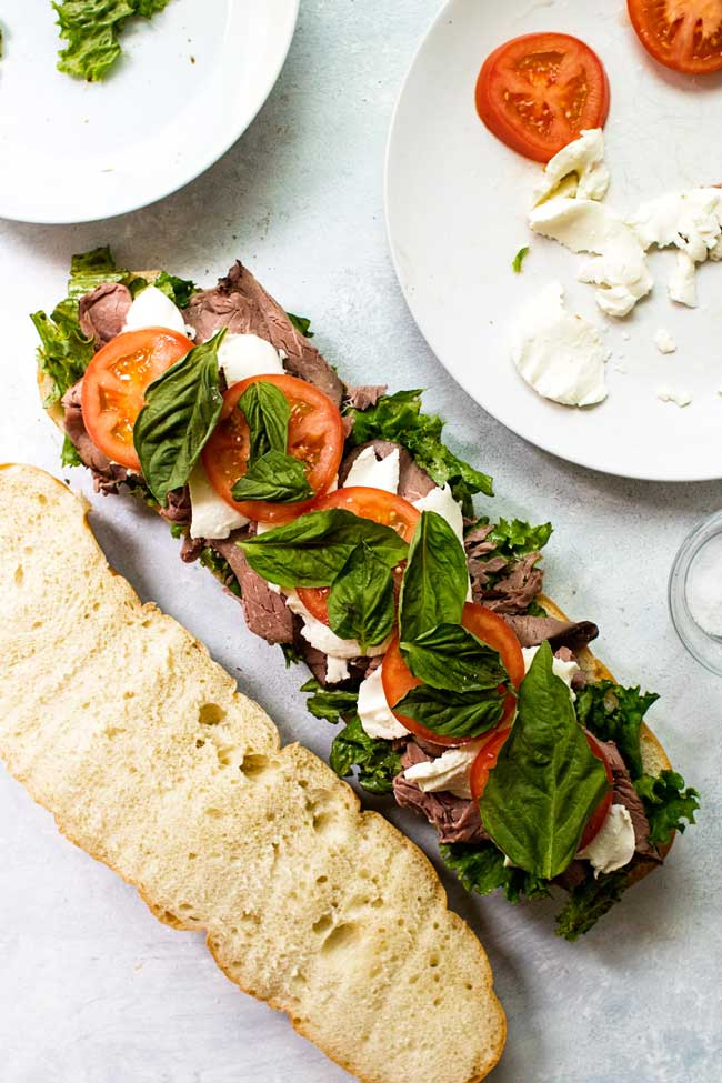 Caprese roast beef sandwich with all the ingredients