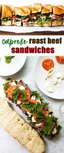caprese roast beef sandwiches photo collage
