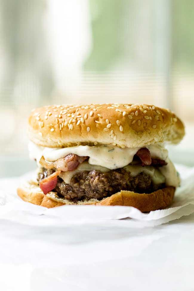 Bacon Cheeseburger with Green Chile Mayo