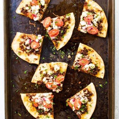 Chorizo and Goat Cheese Pita Pizzas