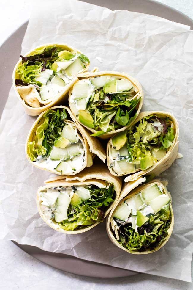 cucumber avocado wraps on parchment paper