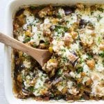 eggplant casserole in a baking dish