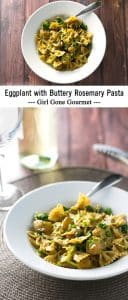 Eggplant with buttery rosemary pasta