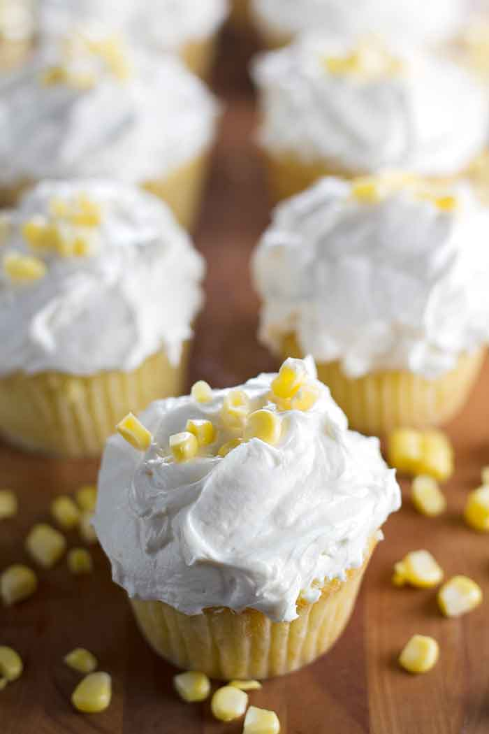Fresh Corn Cupcakes with Browned Butter Frosting | girlgonegourmet.com