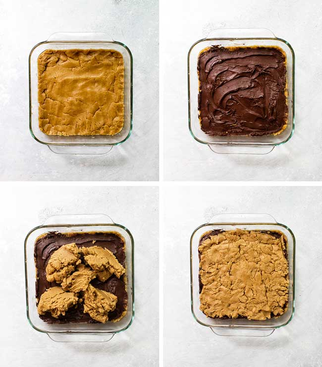 How to make peanut butter and chocolate bars step by step for assembling in the baking dish