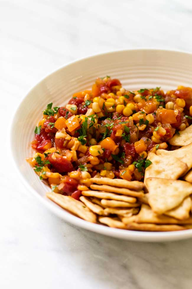 Spicy sweet corn relish makes a great summer dip with crackers