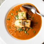 Tomato Soup with Herbed Croutons | girlgonegourmet.com