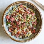 overhead photo of BLT pasta salad in a bowl
