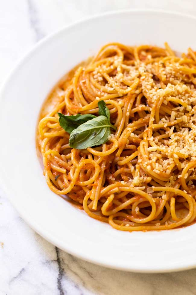 photo of a bowl of spaghetti with tomato sauce