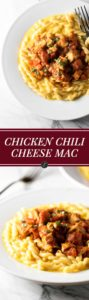 Chicken chili and creamy mac & cheese meet to make the ultimate comfort food dish - chicken chili cheese mac! | girlgonegourmet.com
