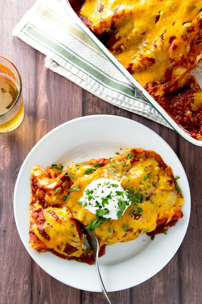 overhead photo of enchiladas on a plate