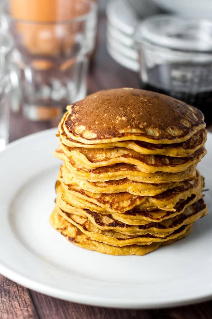 Tall stack of sweet potato pancakes