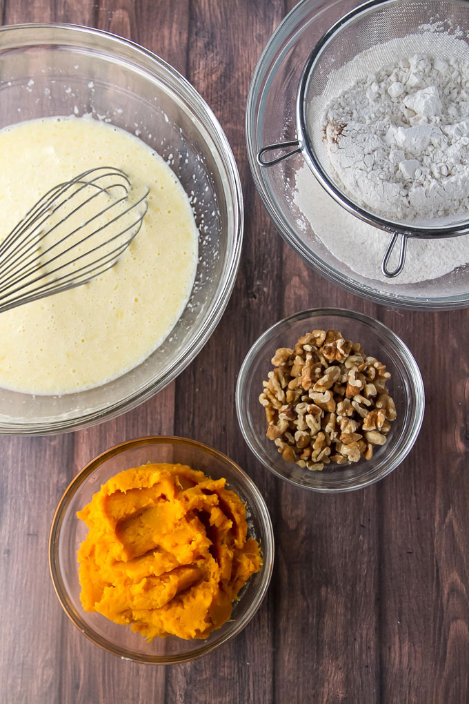 Ingredients for sweet potato pancakes