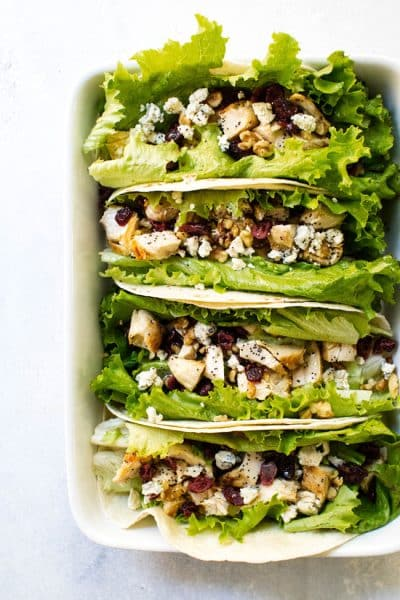Cranberry-Walnut Chicken Wrap with Lemon Poppy Seed Dressing