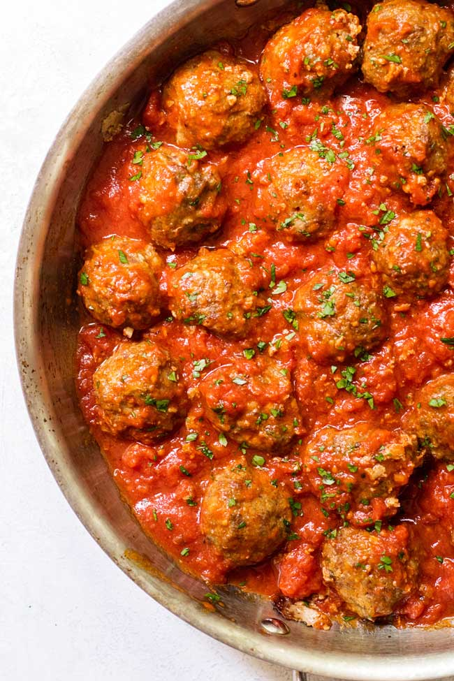 Classic Meatballs in a skillet