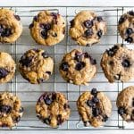 overhead photo of blueberry buttermilk muffins on a baking rack