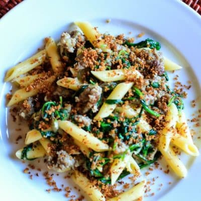 Pasta with Sausage & Arugula