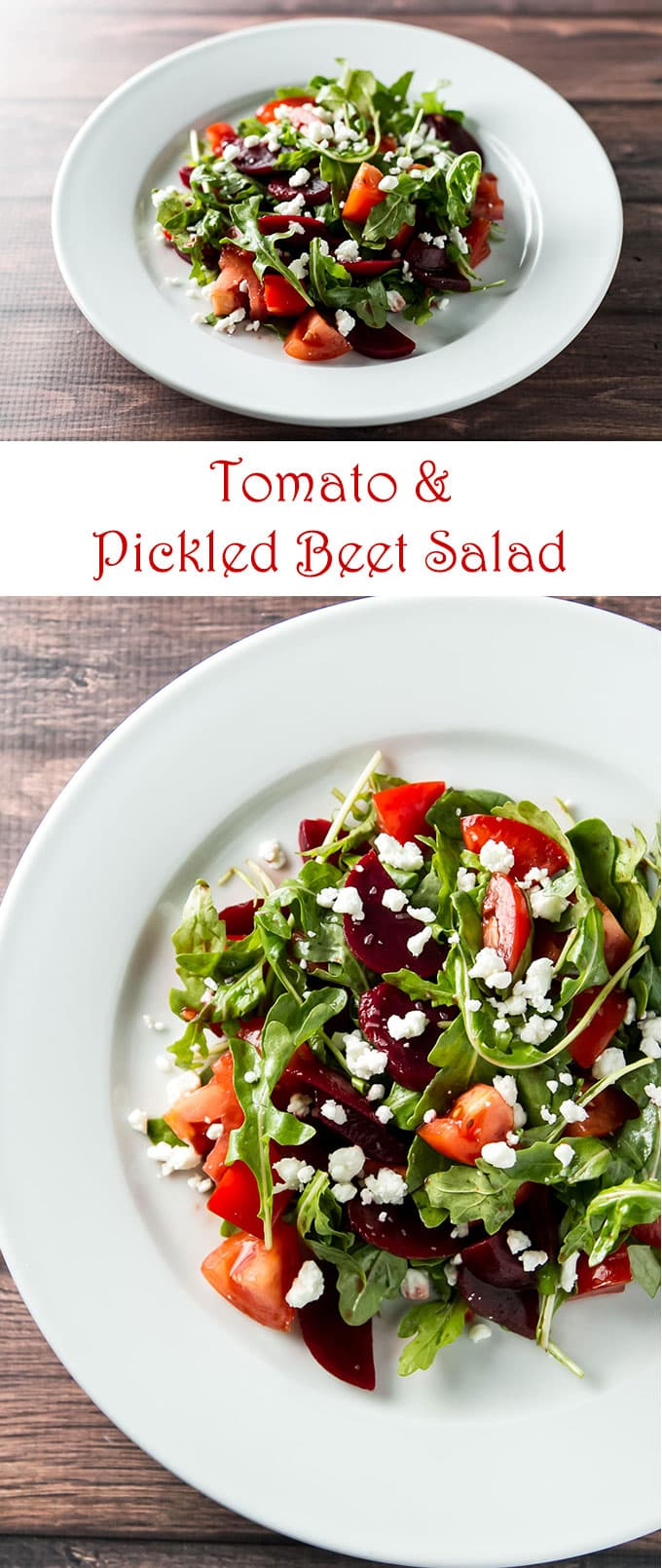 This tomato and pickled beet salad is so simple to make, but packs a lot of flavor - it's perfect for a holiday entertaining! | girlgonegourmet.com