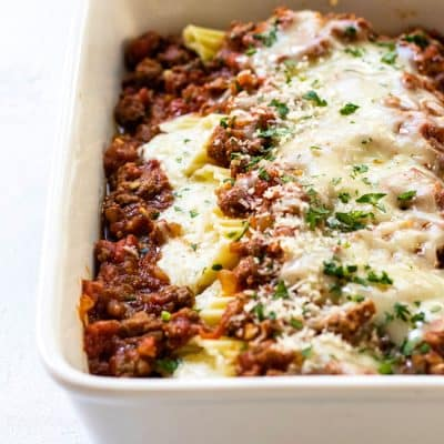 Four-Cheese Manicotti with Meat Sauce