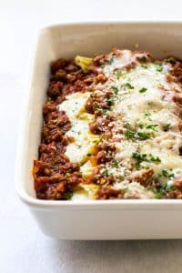 Four cheese manicotti with meat sauce