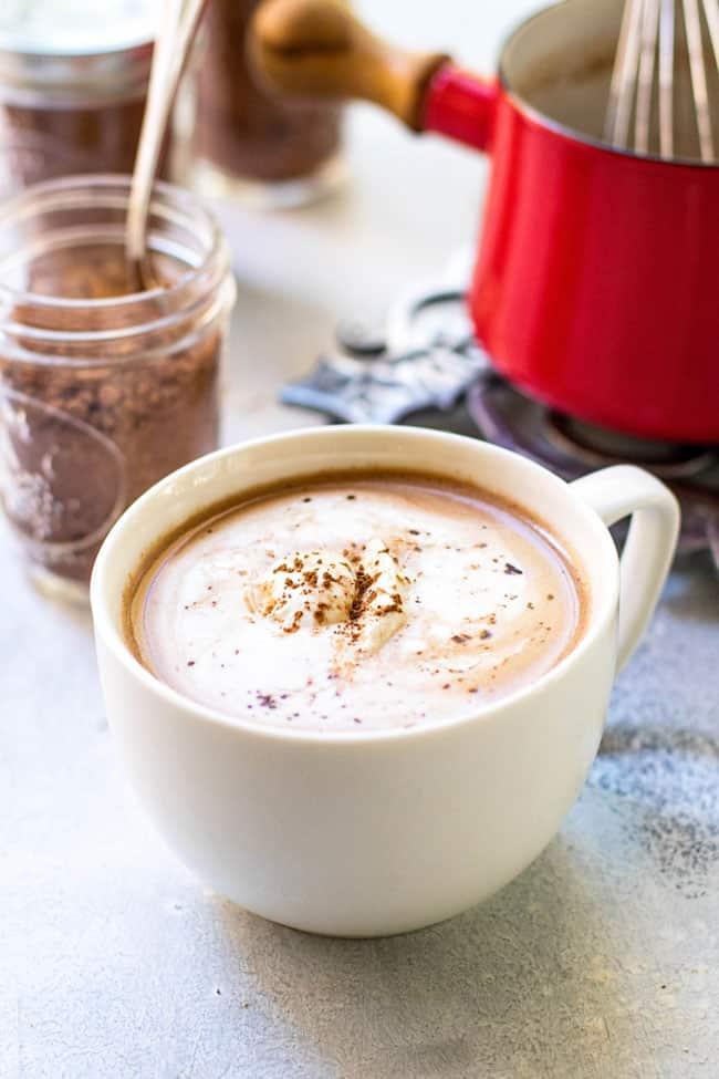 Big mug of hot chocolate made with homemade hot chocolate mix