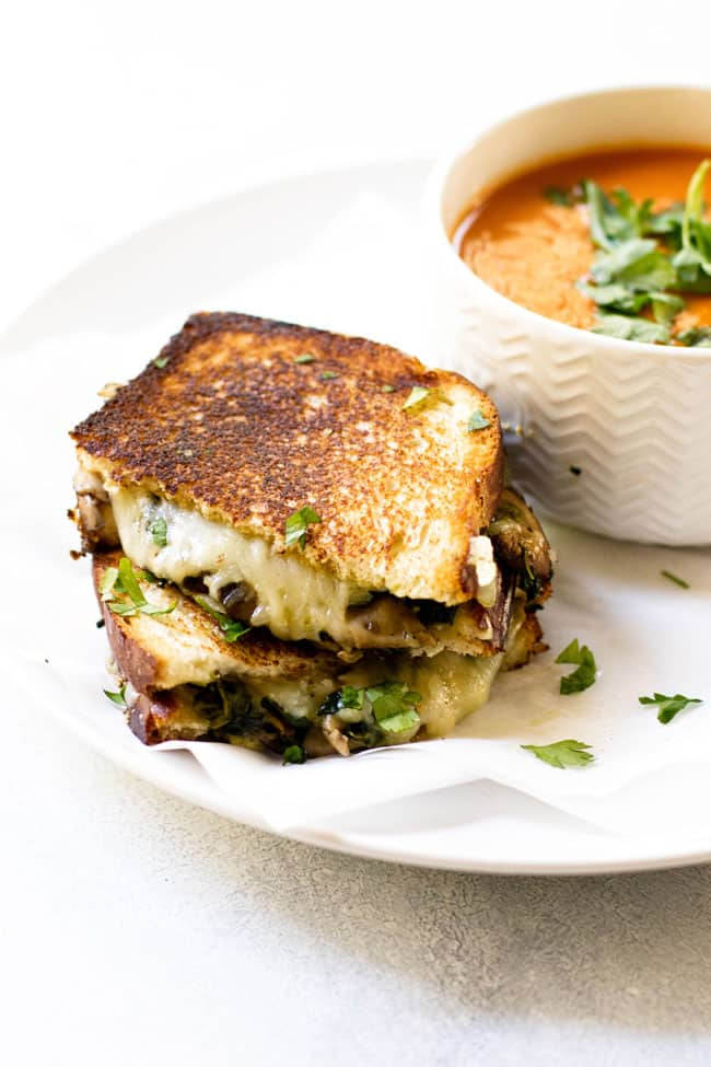 Mushroom Spinach Melt with Tomato Soup on the side