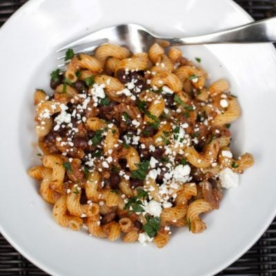 Cavatappi with Mexican Chorizo & Black Beans