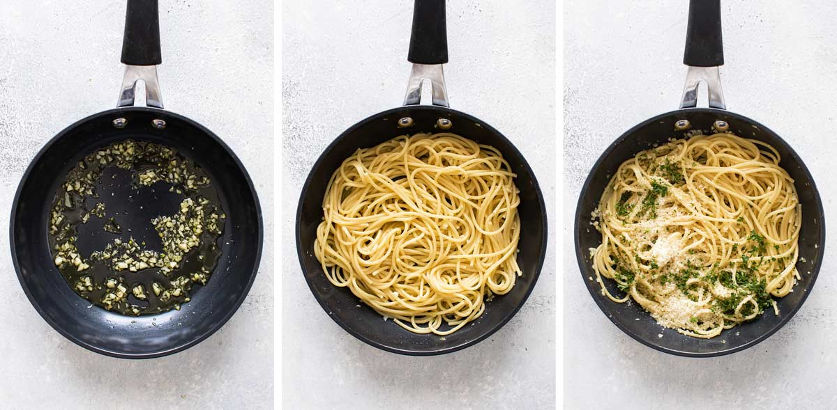 Easy Pasta for One starts with olive oil and garlic - add pasta for a fast and easy dinner! | girlgonegourmet.com