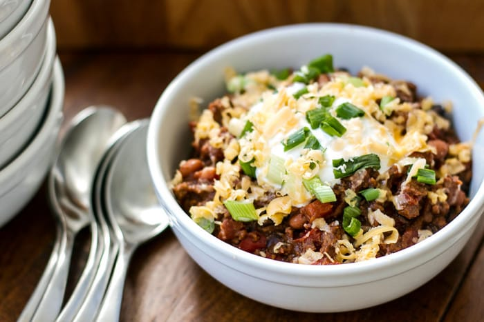 a bowl of easy ground beef chili