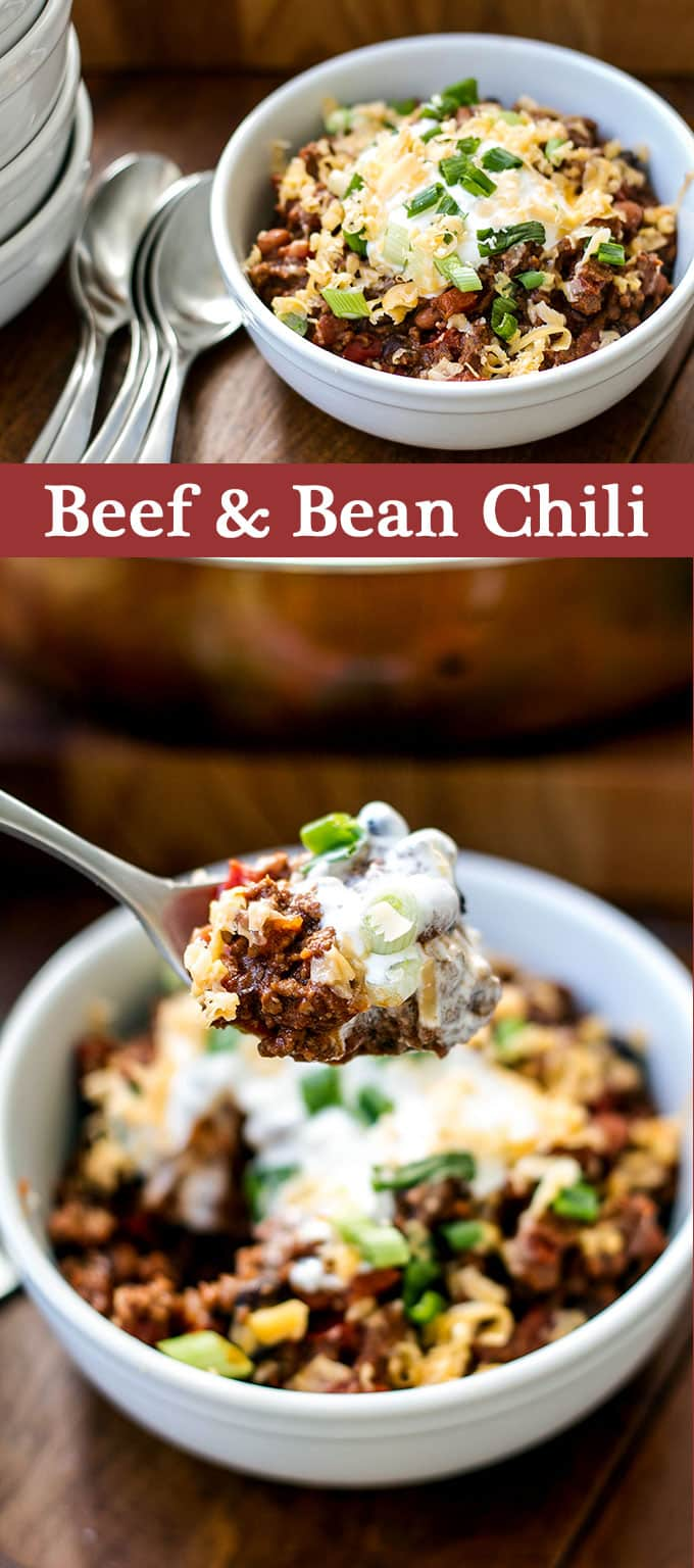 Simple beef and bean chili with all the fixings!   girlgonegourmet.com
