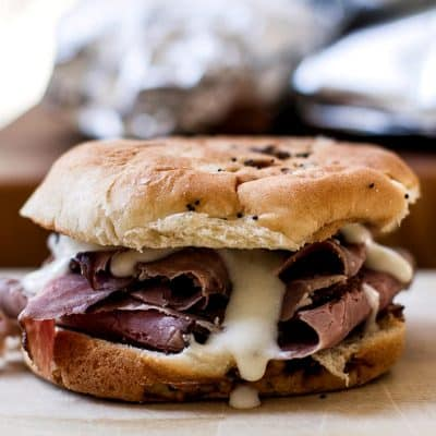 Hot Roast Beef Sandwiches with Pepper Jack Cheese Sauce
