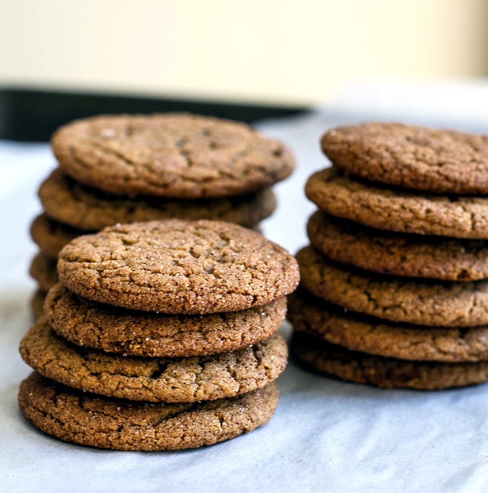 three stacks of Molasses Cookies