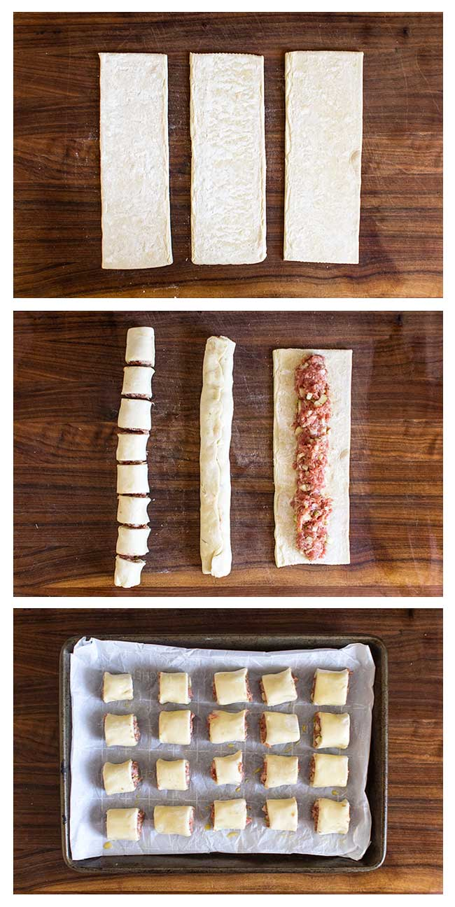 photo collage showing how to make pork sausage rolls