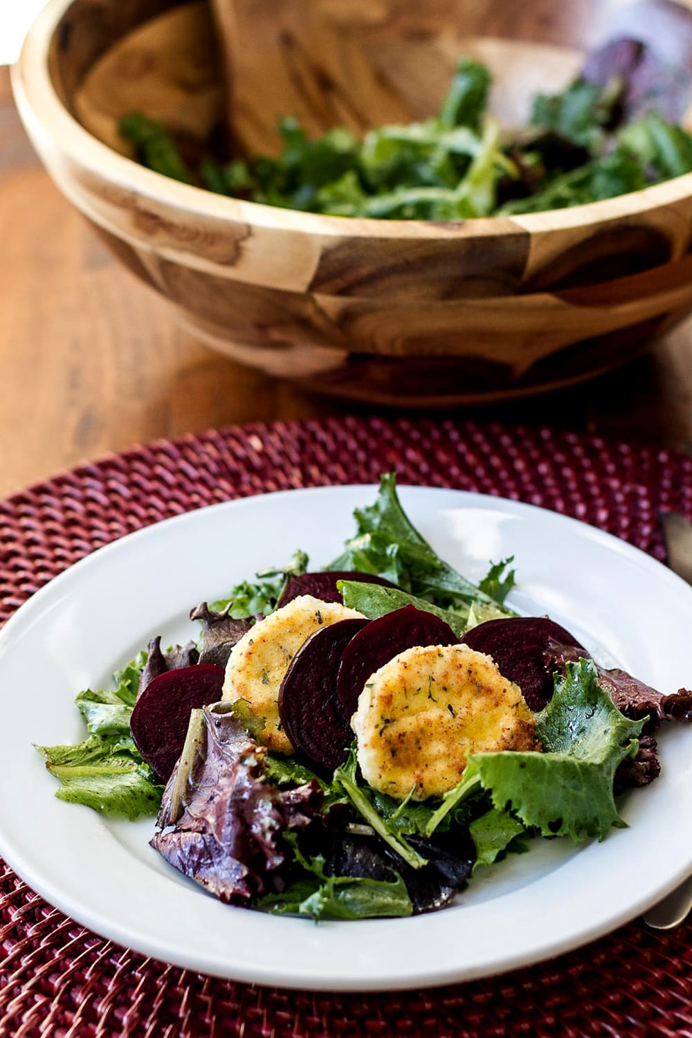 Roasted Beet and Goat Cheese Salad on a plate
