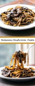 balsamic mushroom pasta photo collage