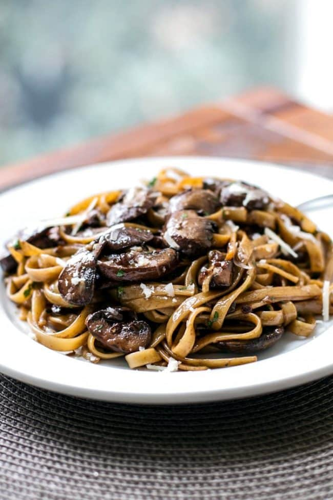 Balsamic mushroom pasta on a white plate
