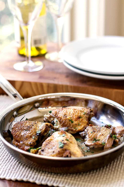 Chicken thighs in wine sauce recipe