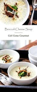Broccoli cheese soup with crispy onion garnish