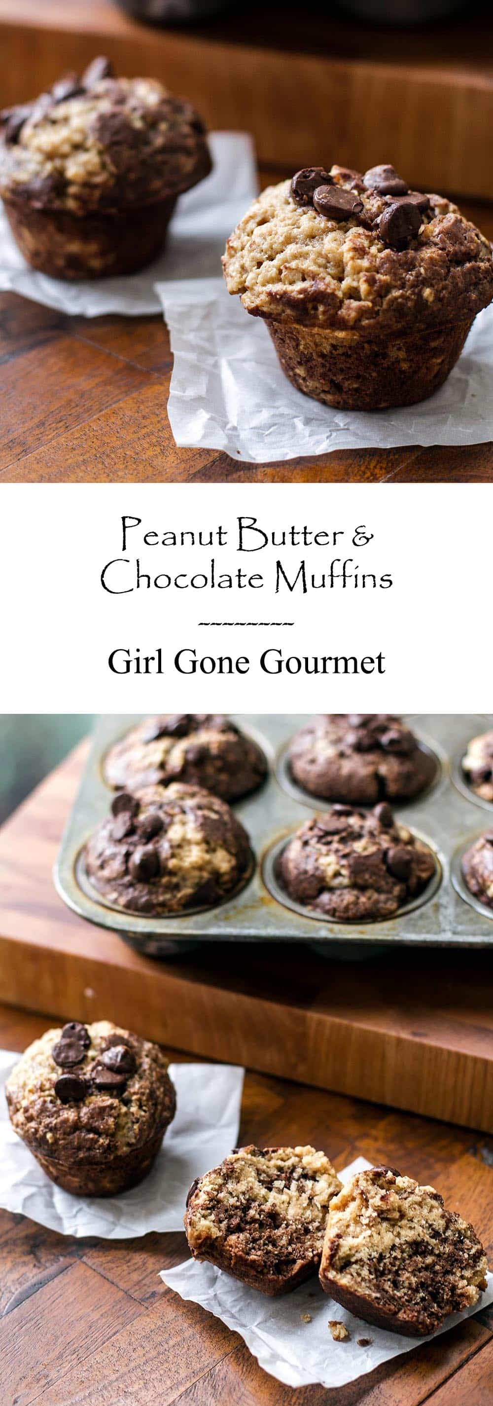 Peanut Butter and Chocolate Muffins | Girl Gone Gourmet