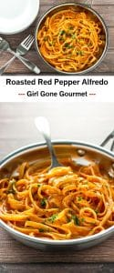 Rich and creamy roasted red pepper alfredo | girlgonegourmet.com