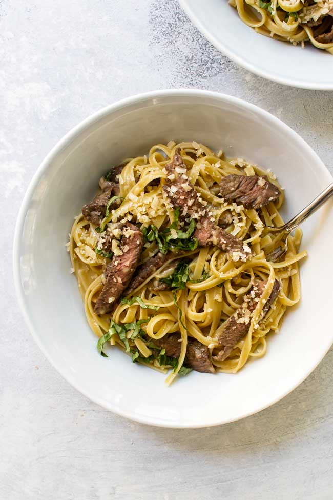 Steak carbonara in a bowl with a fork