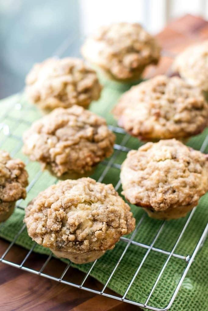 banana walnut muffins on a baking sheet