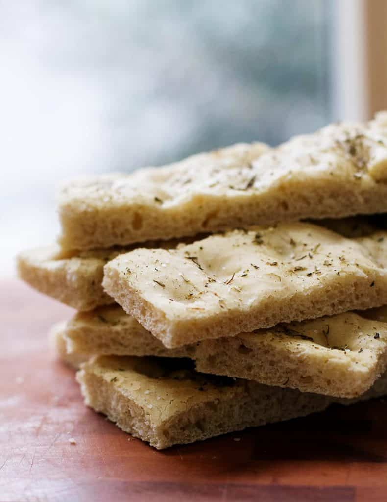 Slices of homemade foccacia bread